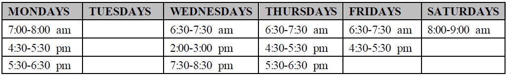 Semi Private Schedule
